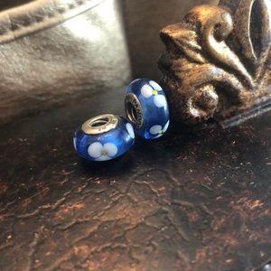 2 Pandora Blue & White Flower Charms